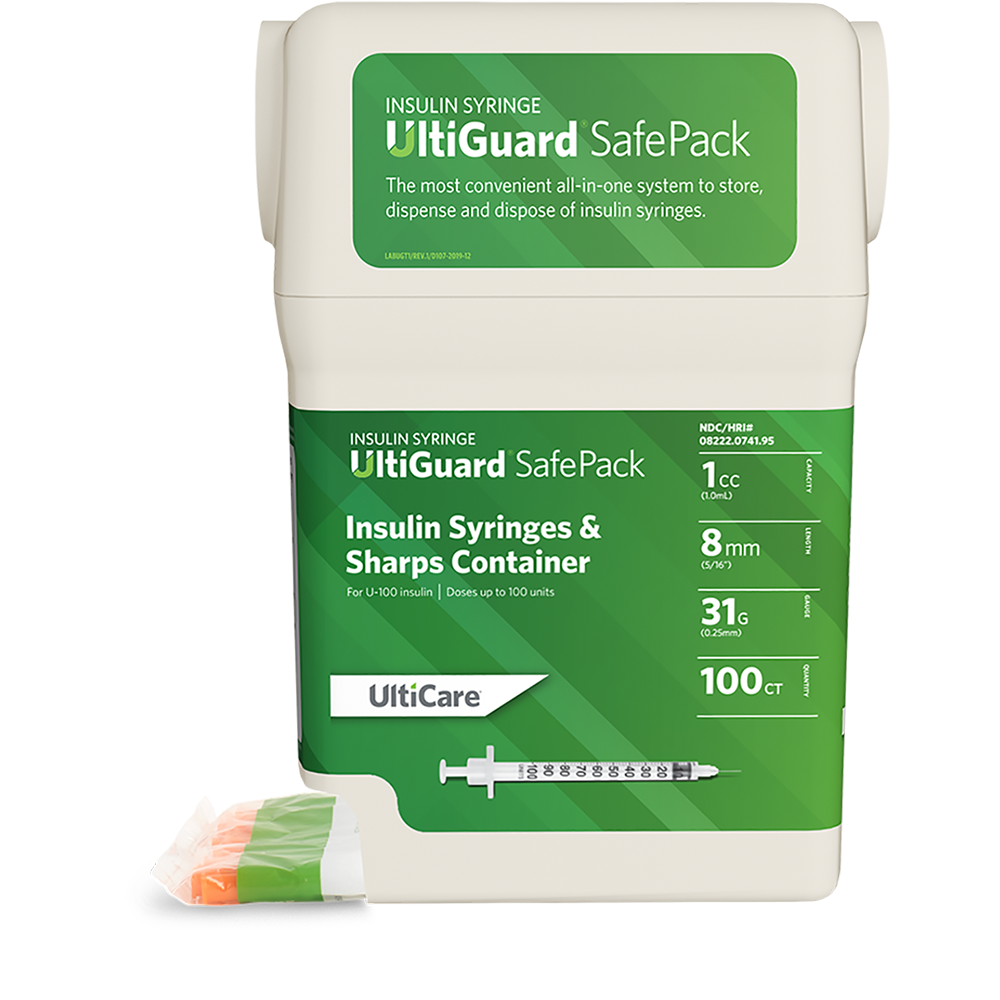 UltiGuard Safe Pack U-100 Insulin Syringes